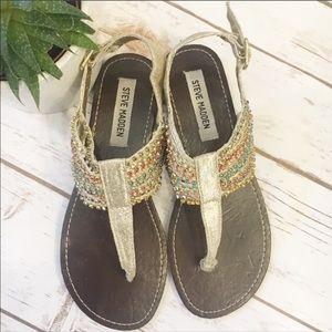Steve Madden P-Kale gold & rhinestones sandals - 7